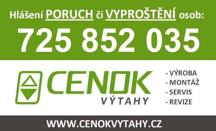 CENOK - Výtahy: poruchová linka